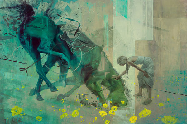Hilary Clarcq woman with horse surreal painting PoetsArtists exhibition