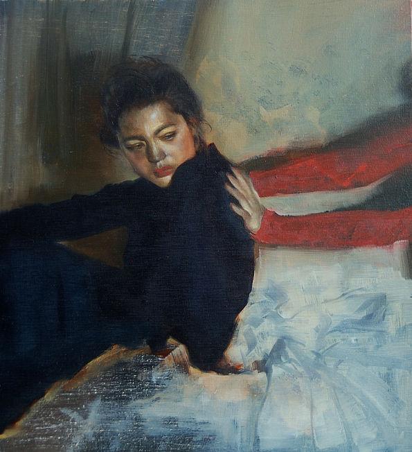 Zienna Brunsted Stewart woman in blue realism portrait painting