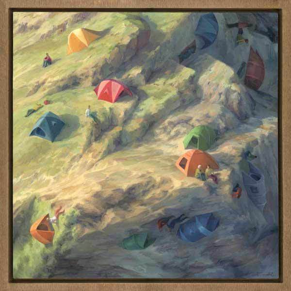 Cinta Vidal landscape camping tent painting