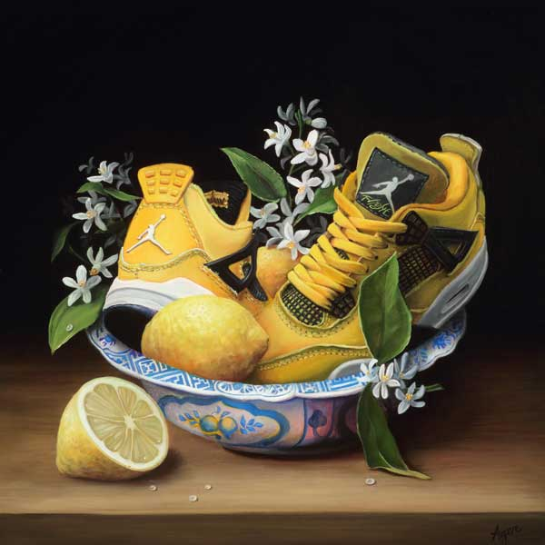 Kathy Ager realistic shoe and flower painting