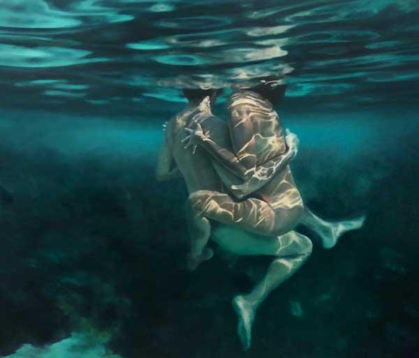 Martine Emdur underwater couple painting
