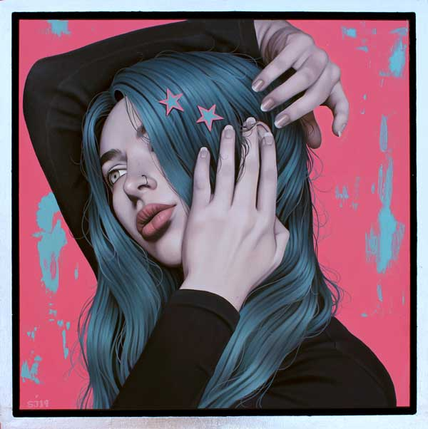 Sarah Joncas girl with blue hair painting
