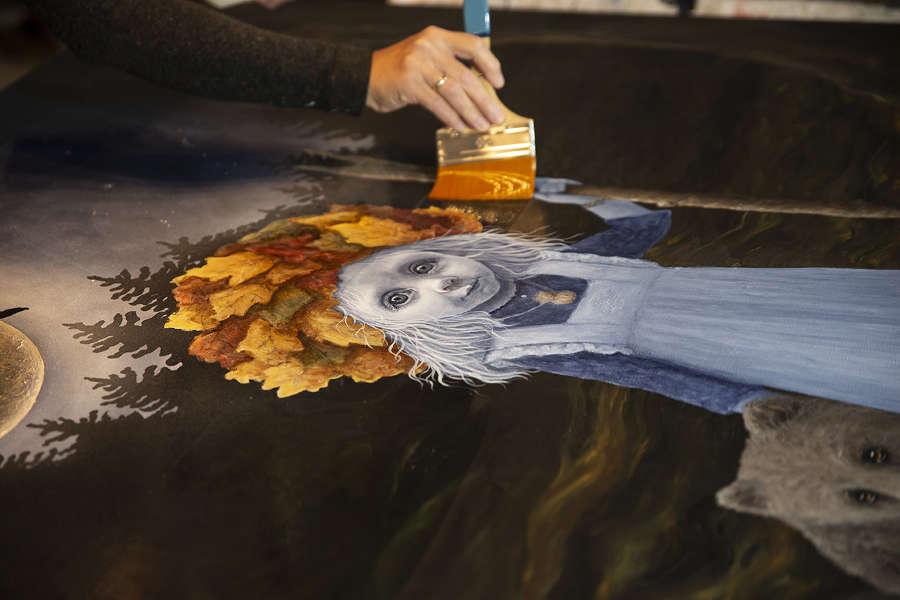 varnishing winter solstice painting