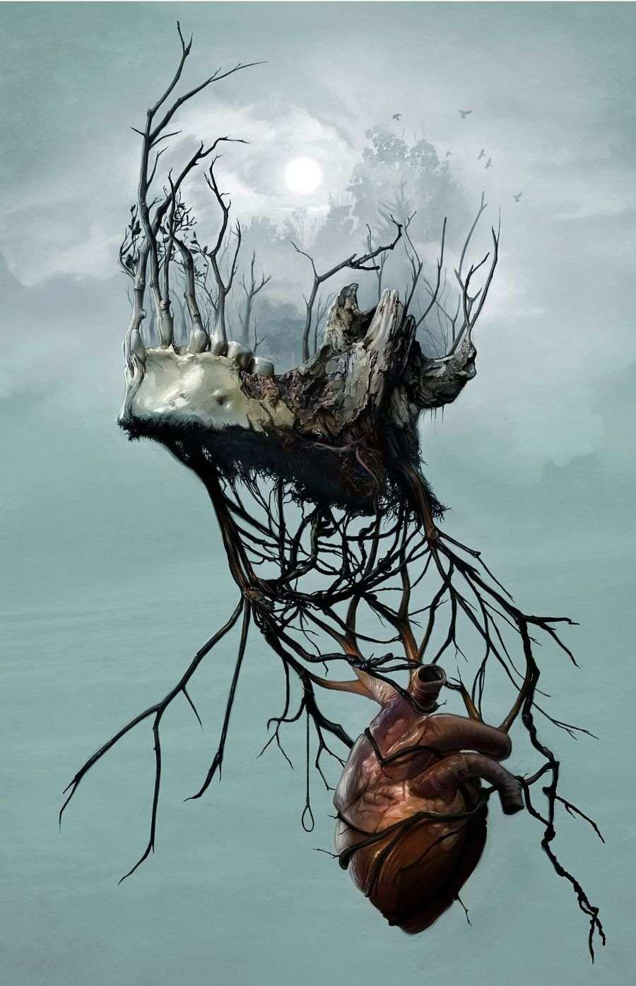 David Seidman Digital Painting Tree Roots Skull Fog Heart