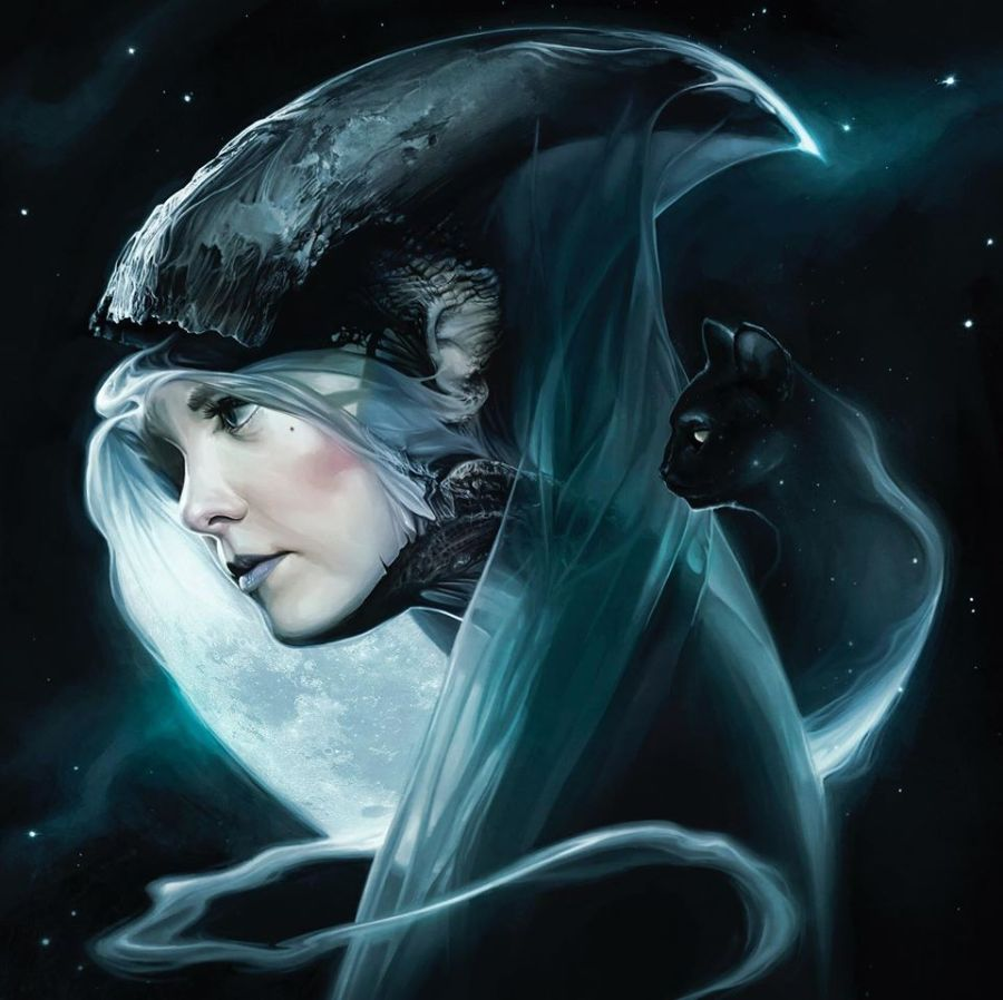 David Seidman Digital Painting Woman Horn Black Cat