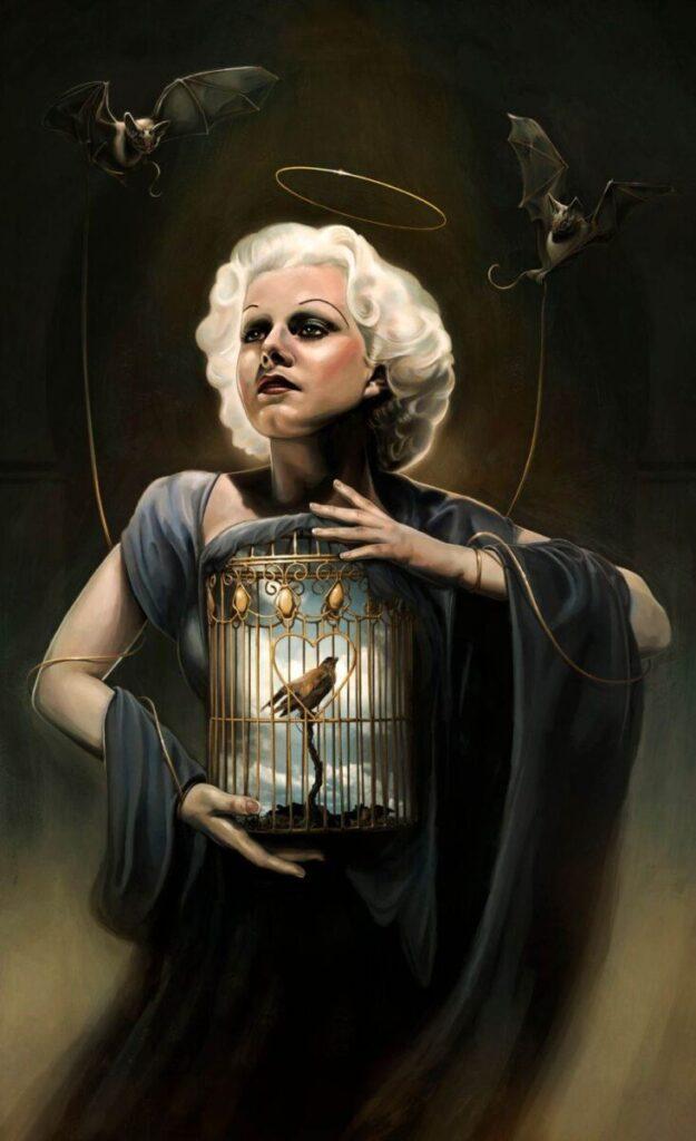 David Seidman Digital Painting Woman Halo Bats Birdcage