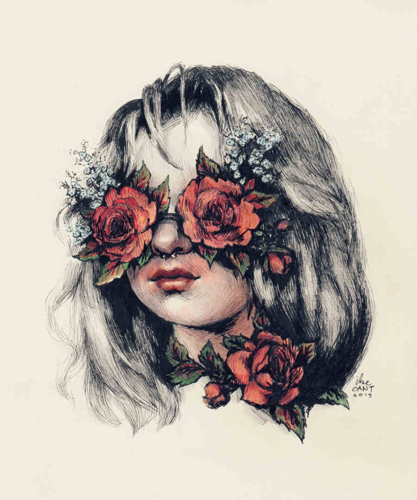 Ilze Cant rose eyes ink drawing