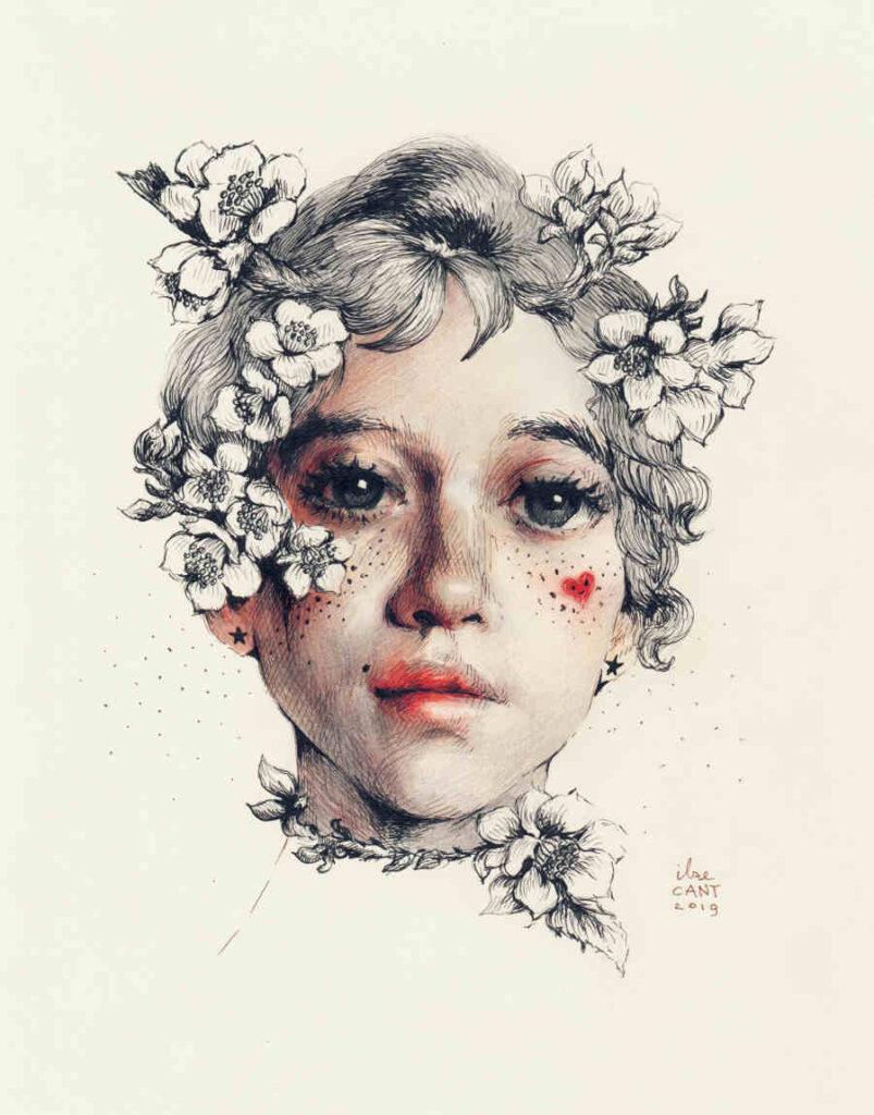 Ilze Cant colour portrait drawing