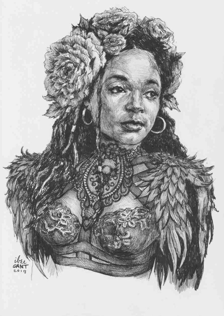 Warrior woman ink portrait
