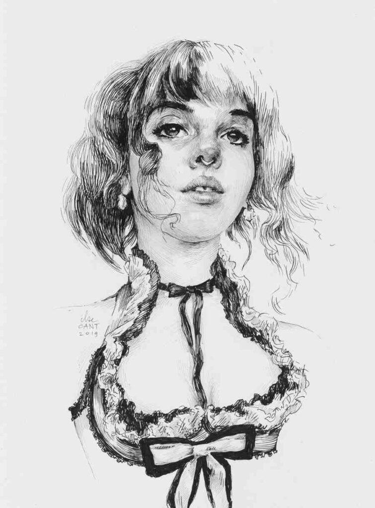 Ilze Cant ink pen portrait