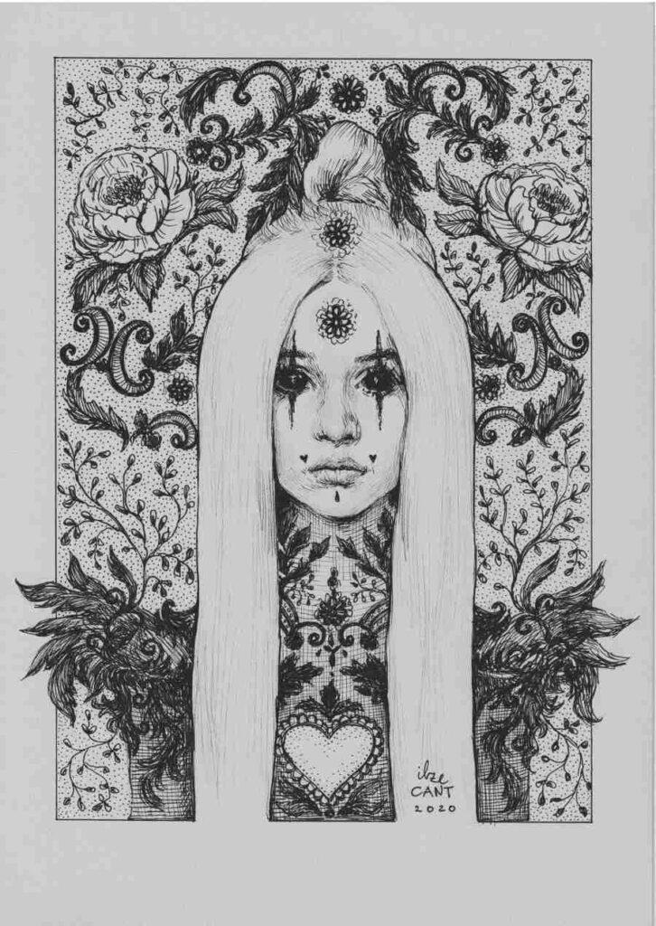 Poppy ink pen portrait Ilze Cant