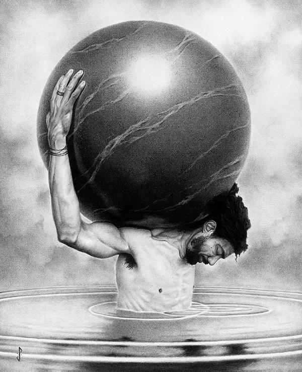Stuart Holland_man holding marble sphere