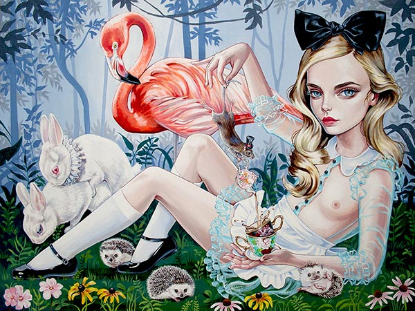 Julie Filipenko pop surreal Alice in Wonderland art
