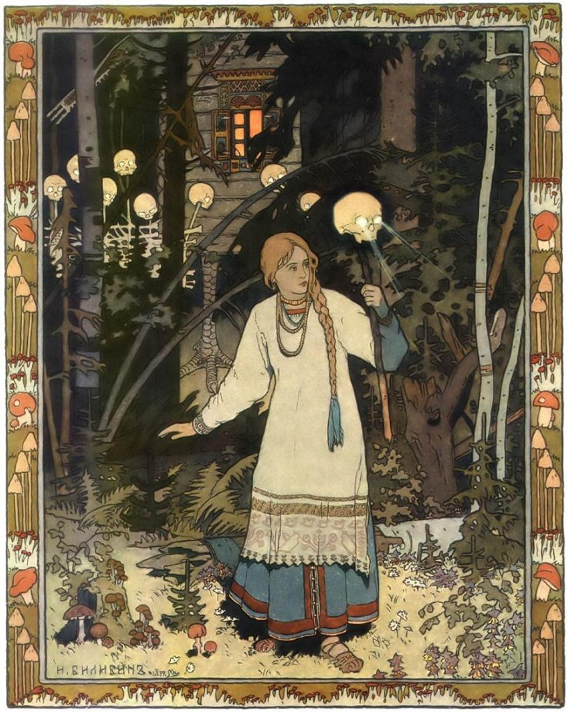 Ivan Bilibin surreal painting woman in woods