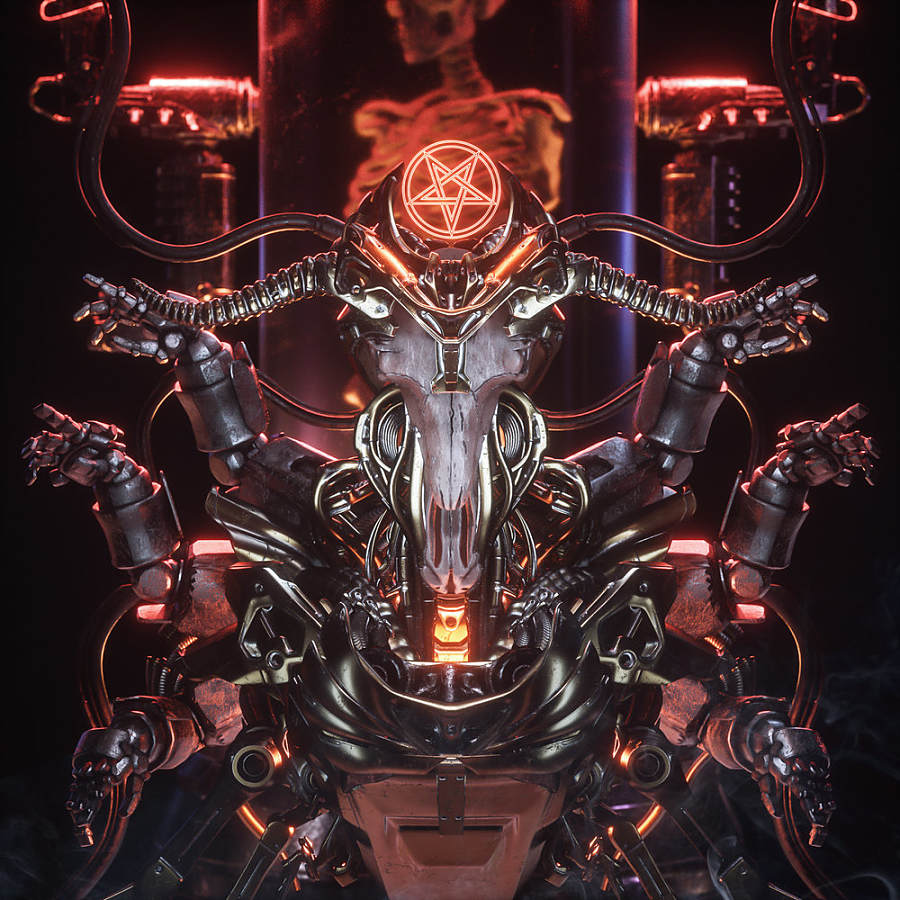 Billelis digital art demonic machine cult