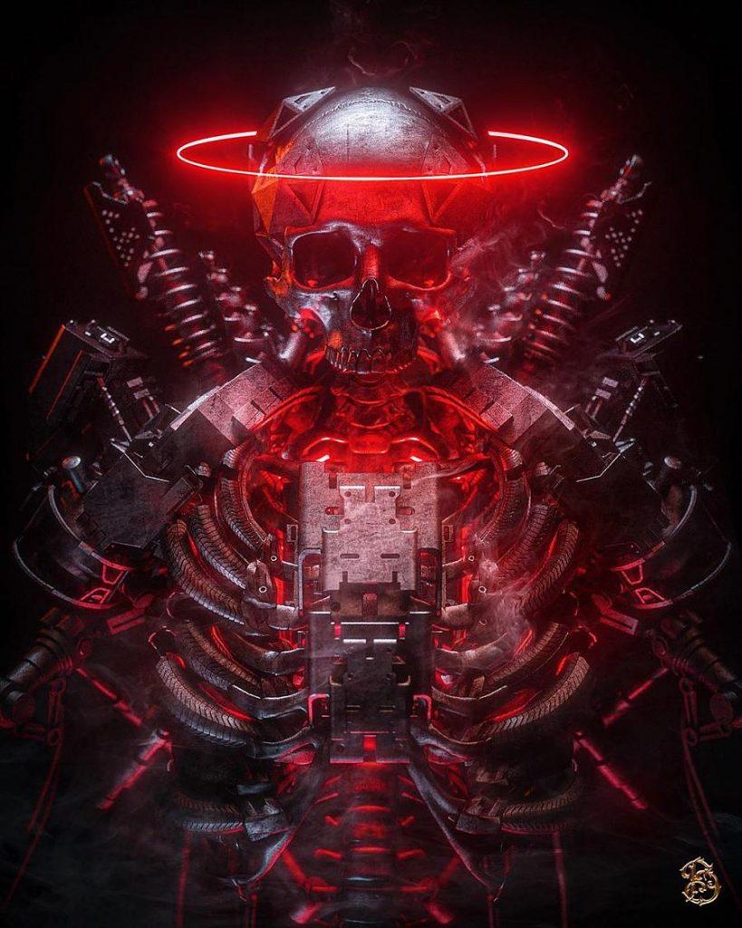 Billelis digital art machine skull angel