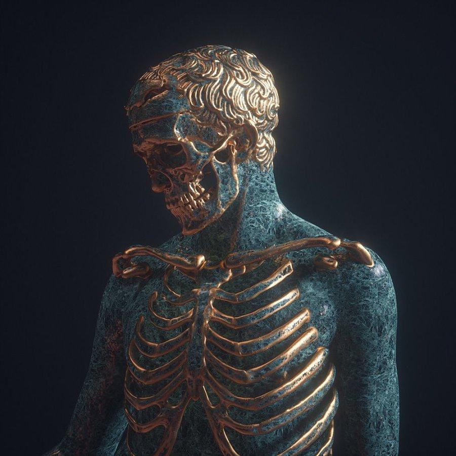 Billelis skull digital art Greek statue skull