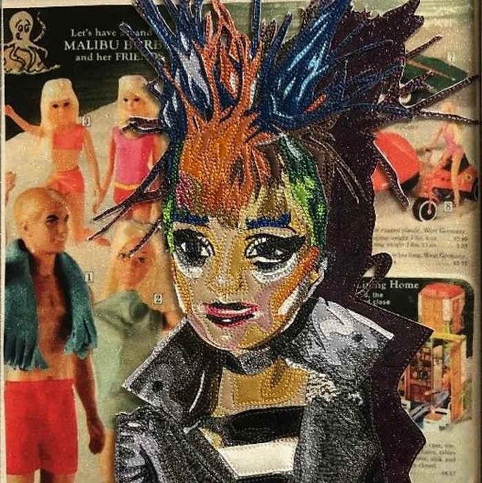 Lori Herbst textile barbie art at Cactus Gallery