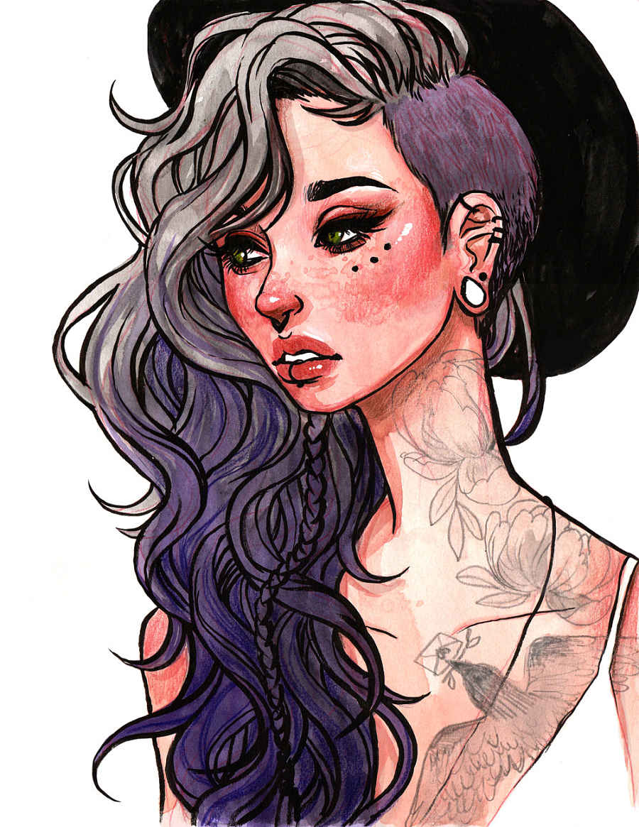 Jacquelin de Leon purple hair woman tattoos watercolor