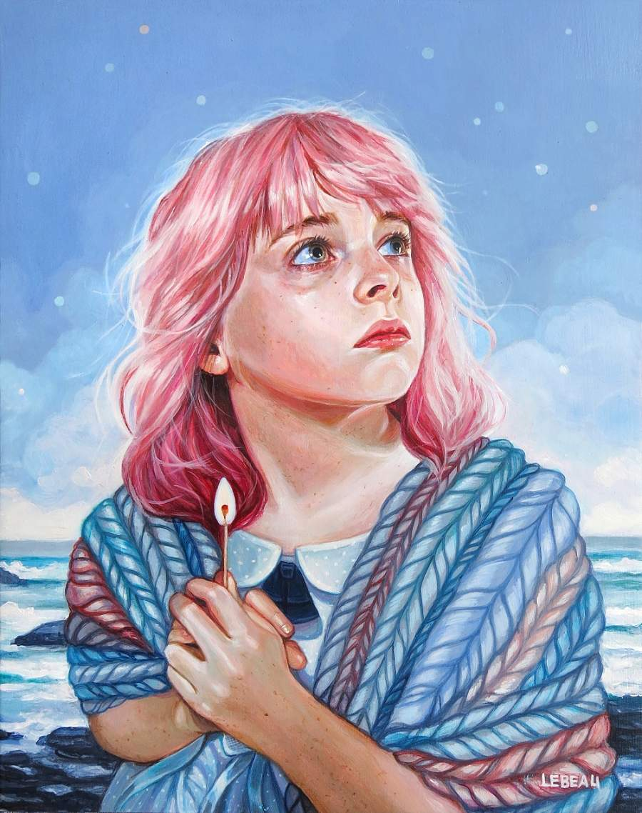 Edith Lebeau girl with pink hair painting Modern Eden Gallery New Growth