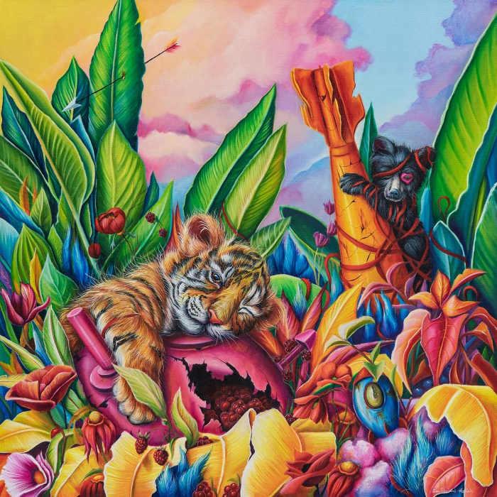 Ewa Prończuk-Kuziak colourful animal painting at Corey Helford Gallery