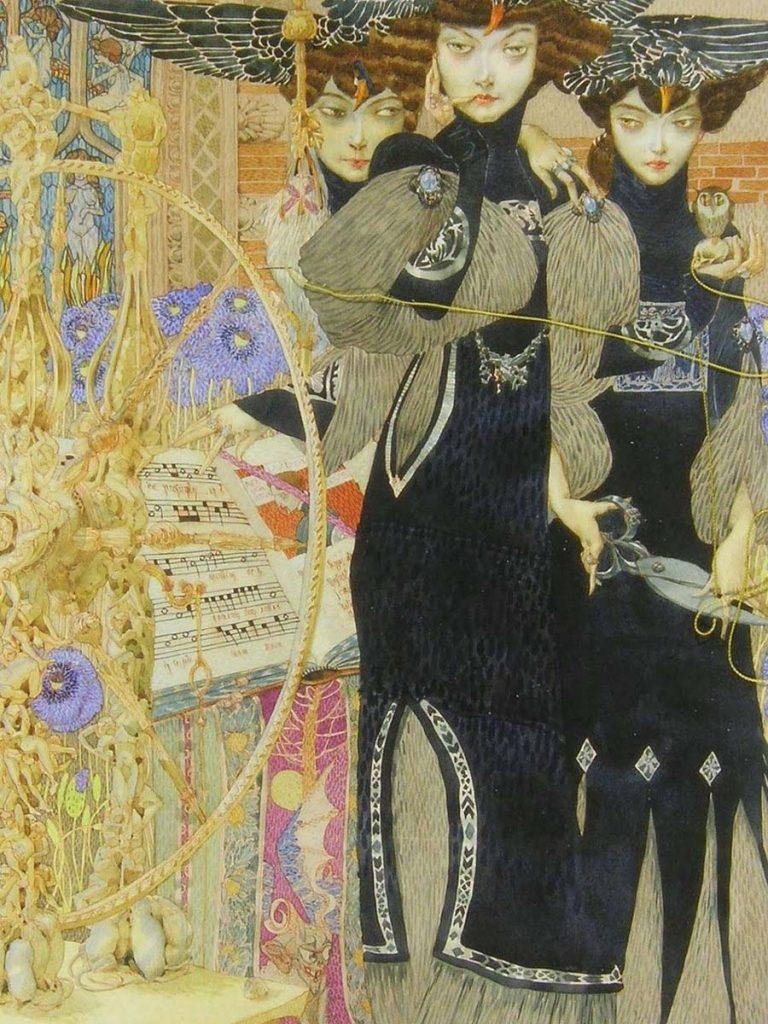 Gustav Adolf-Mossa-the fates surreal painting