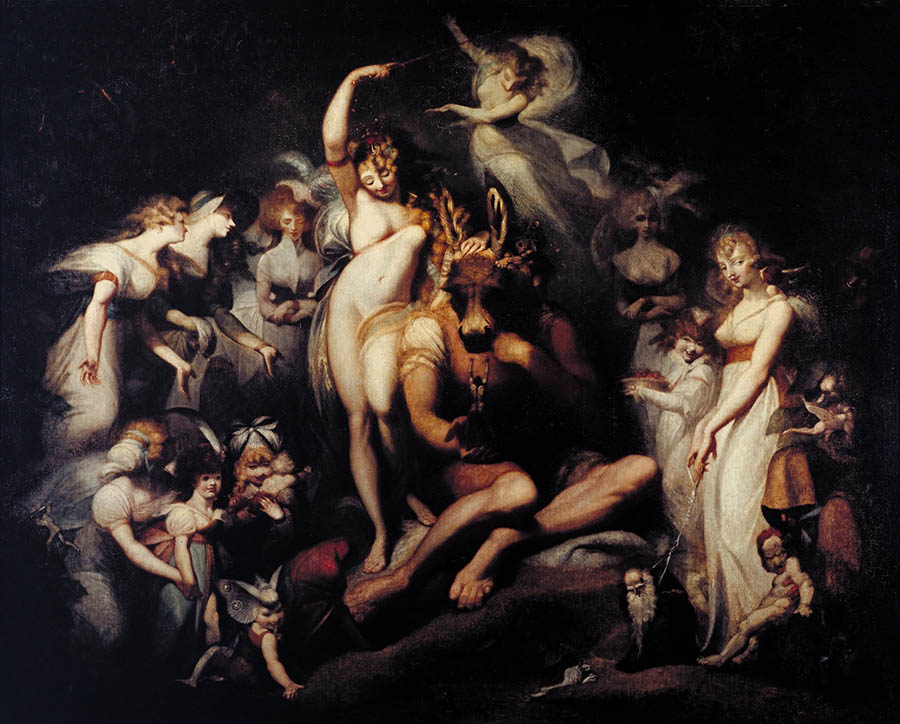 Henry Fuesli-woman celebrating around a man with a bull head nude art
