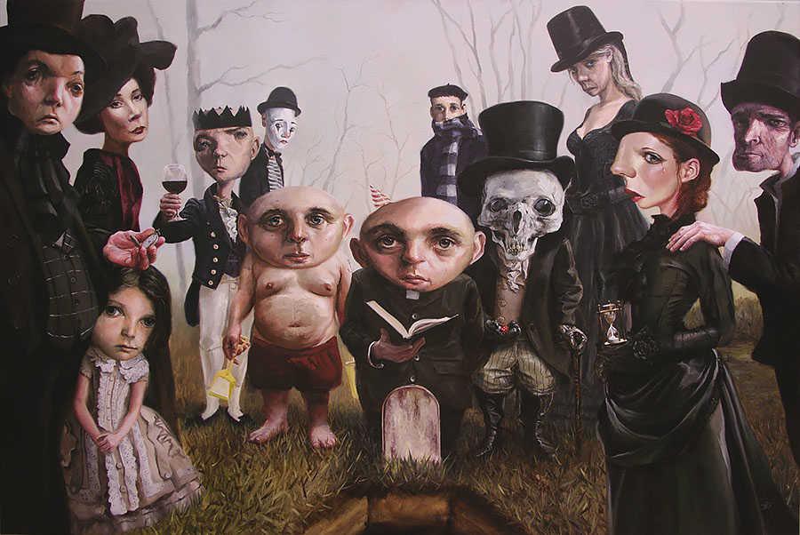pop art, low brow, oil painting, surrealism, funeral