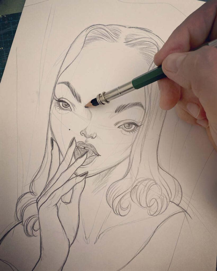 Janka Creator vintage pinup drawing