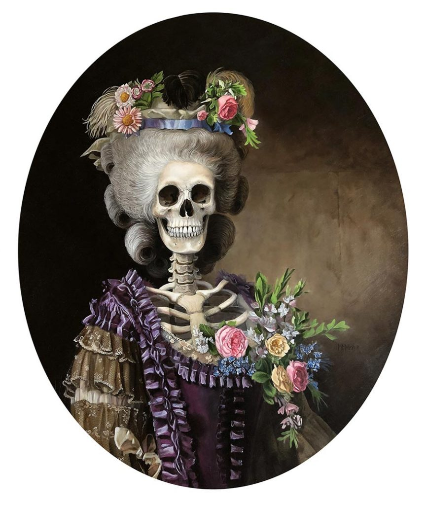 "Michele Melcher - ""The Countess"" pop surreal skeleton painting"