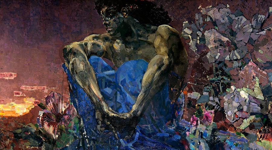 Mikhail Vrubel-man sitting painting
