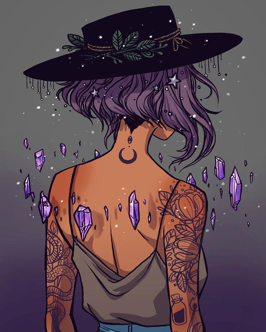 Jacquelin de Leon amethyst witch tattoos digital