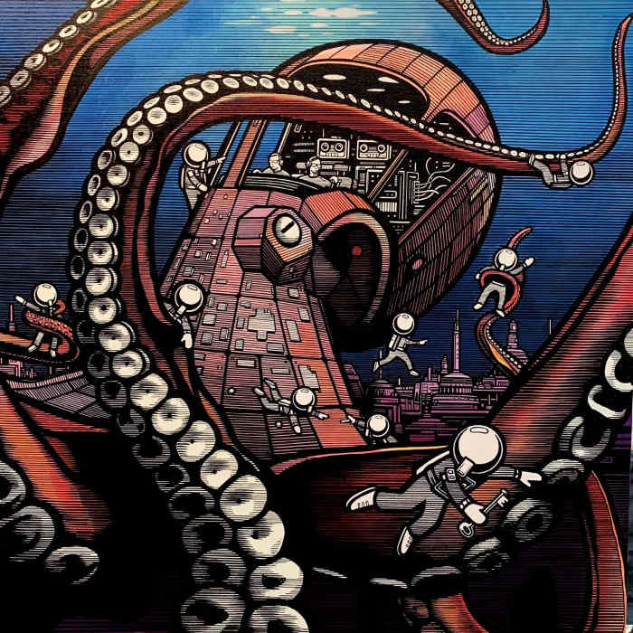 The London Police Mechanical Kraken Against the Minions at Corey Helford Gallery