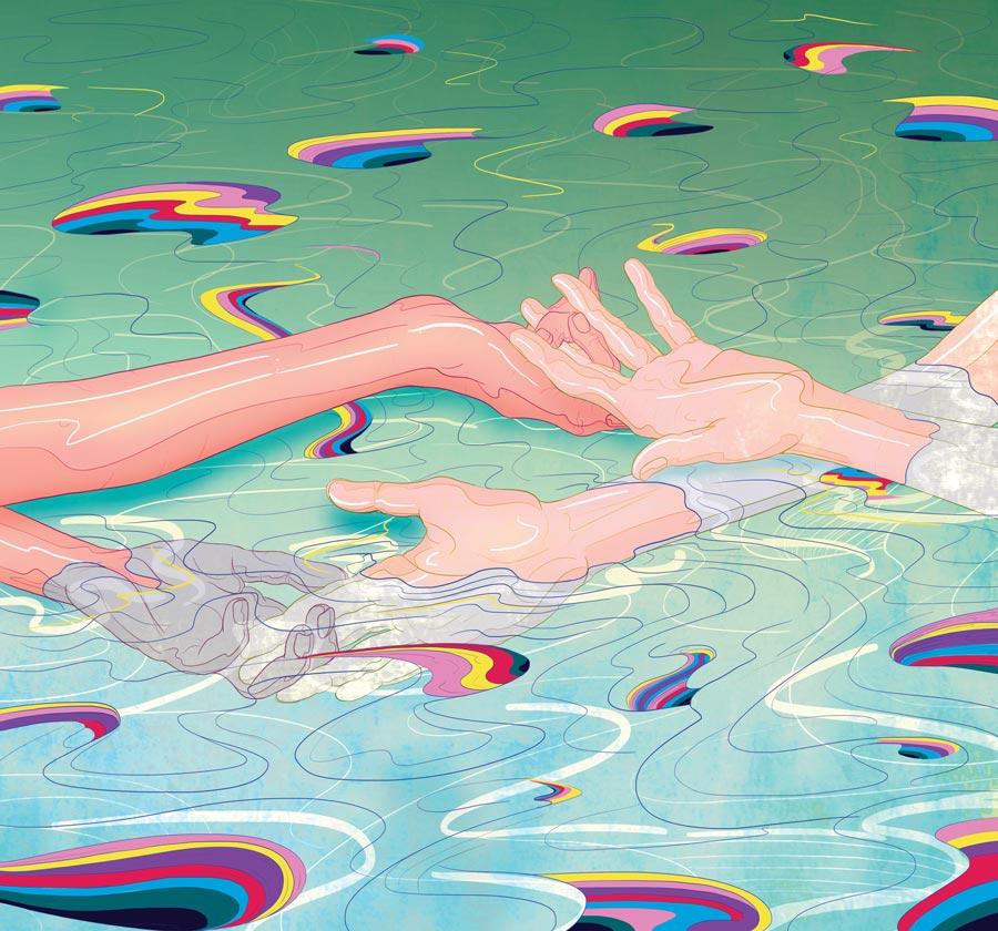 MURUGIAH Digital Illustration Clasped Hands Rainbows Water