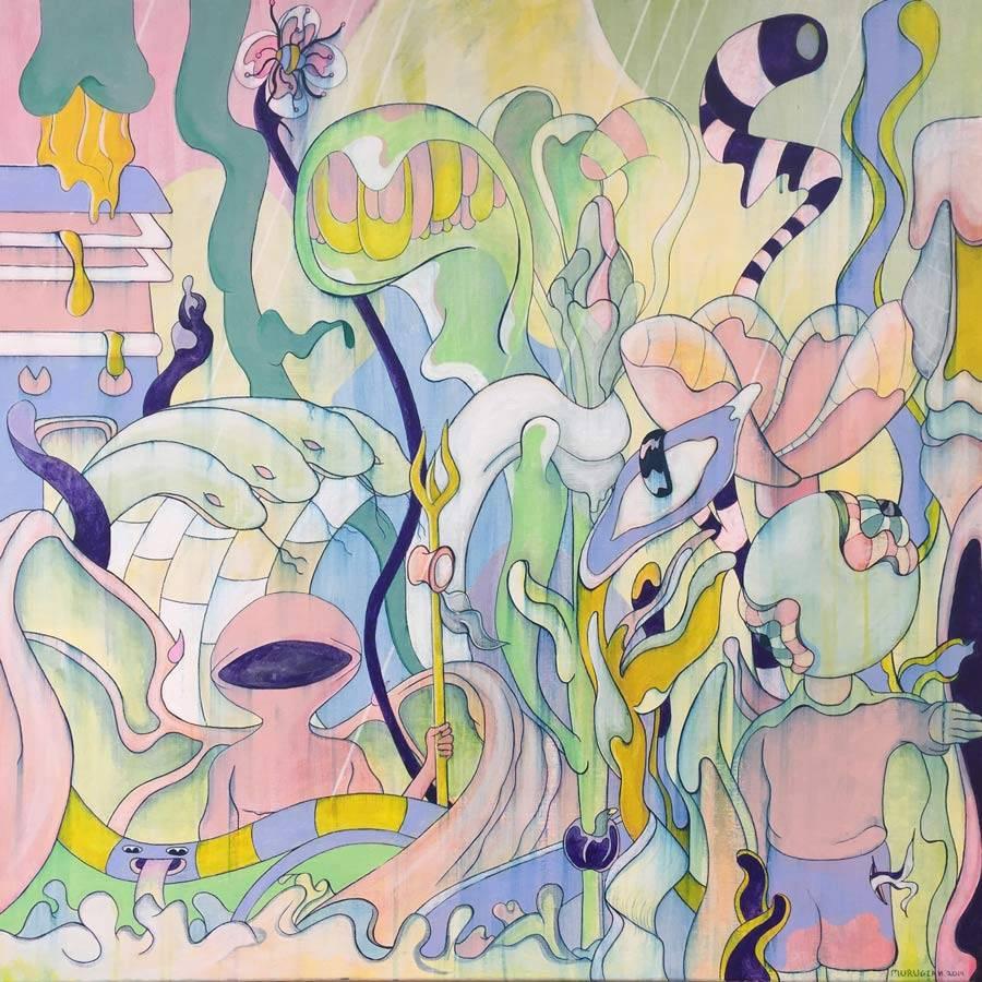 MURUGIAH Digital Illustration Pastel Botanical Landscape Snakes Faceless Figures