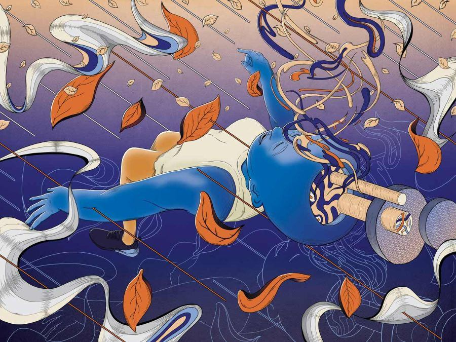 MURUGIAH Digital Illustration Blue Figure Swirls Emerging From Cranium