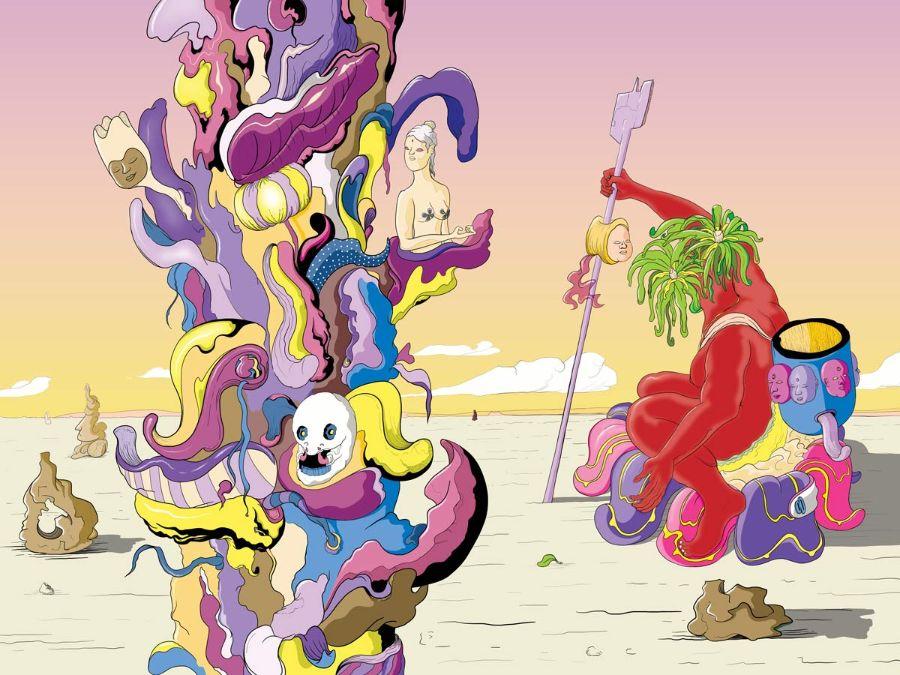 MURUGIAH Digital Illustration Red Figure With Skewered Head On Stick