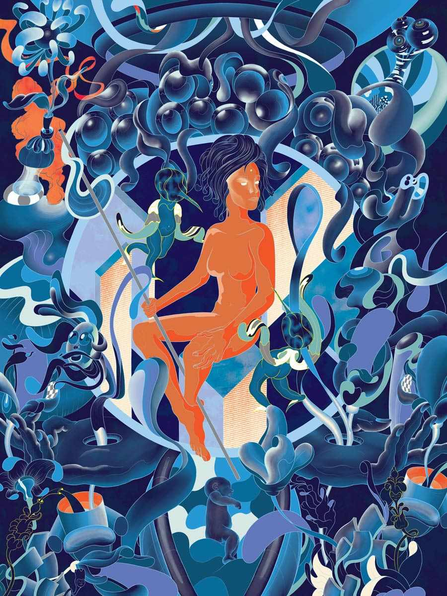 MURUGIAH Digital Illustration Orange Female Figure Blue Landscape