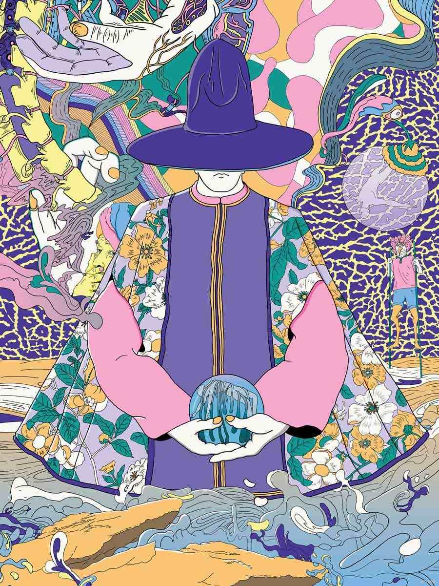 MURUGIAH Digital Illustration Purple Magician Crystal Ball