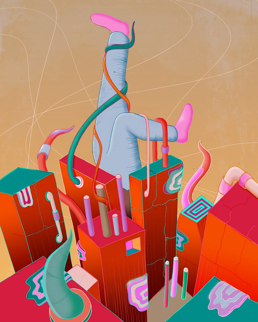 MURUGIAH Digital Illustration Upside Down Figure Stuck In Red Walls