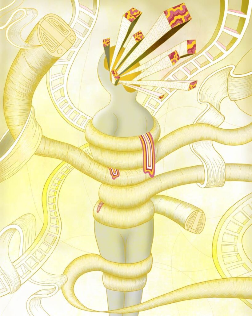 MURUGIAH Digital Illustration Yellow Wrapped Figure