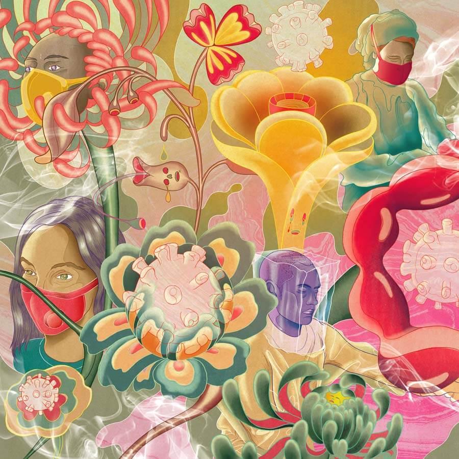 MURUGIAH Digital Illustration Medical Bacteria Face Masks Flowers