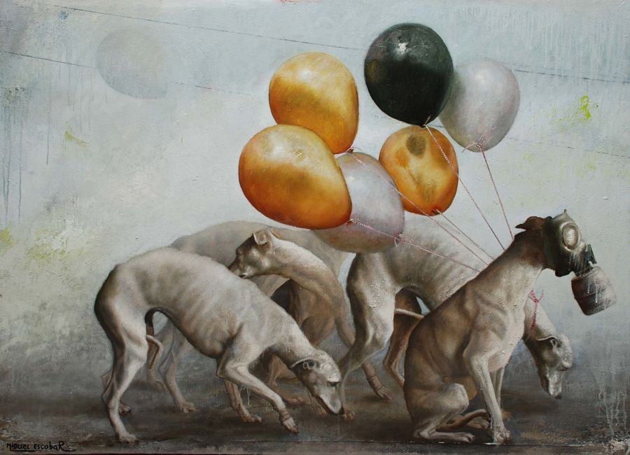 Miguel Escobar dogs and gas mask painting