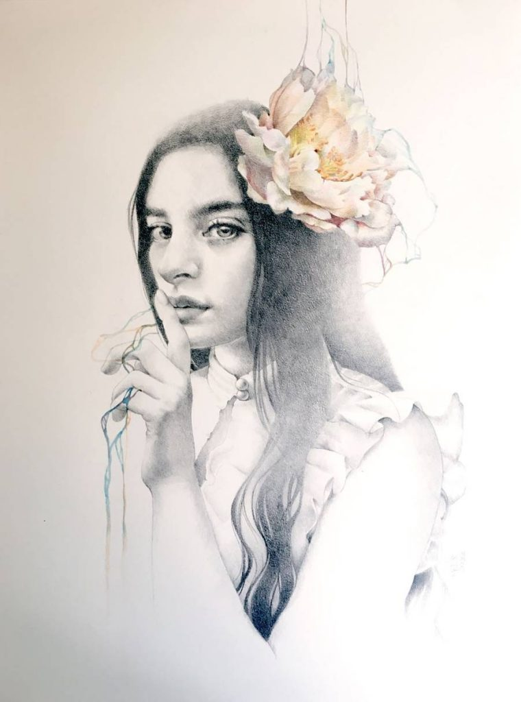 Erica Calardo surreal portrait drawing