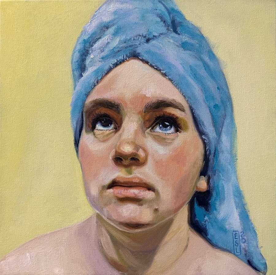 Ellen Starr Lyon blue towel painting PoetsArtists