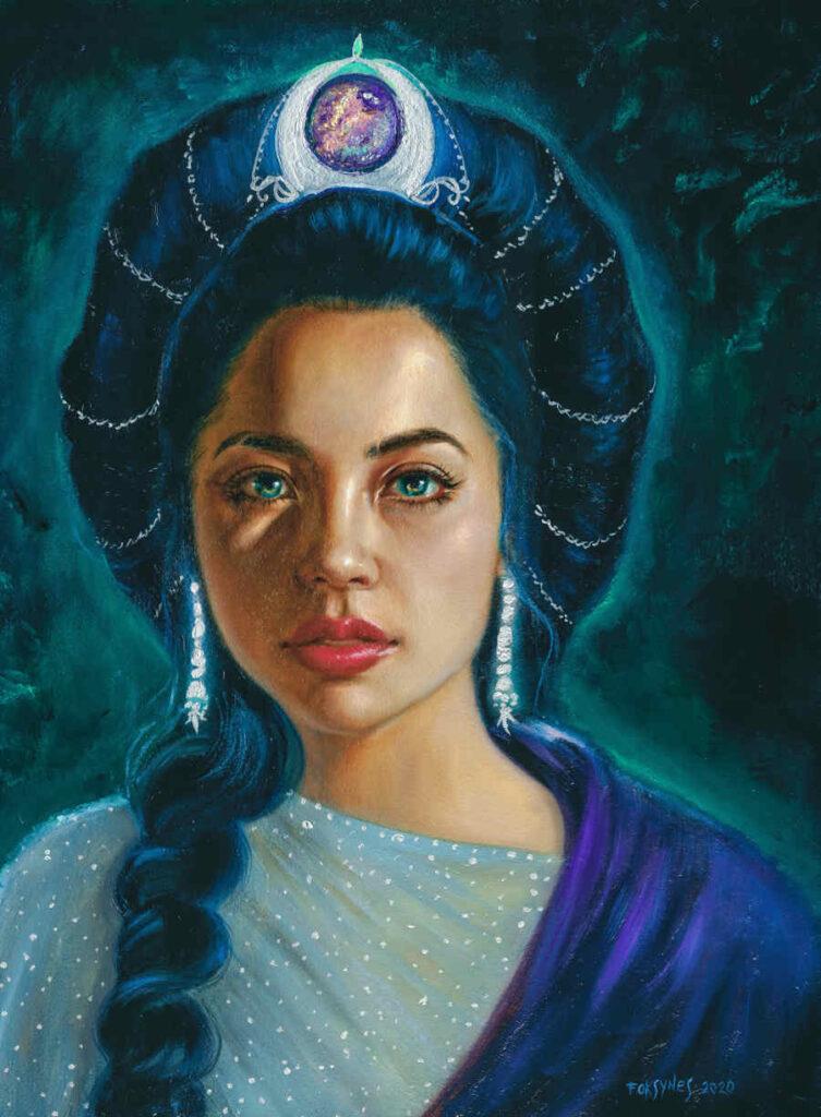 Foksynes Diana blue portrait painting Divine