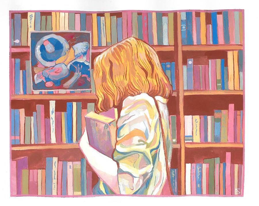 Alejandra Caballero Painting of girl in library holding book