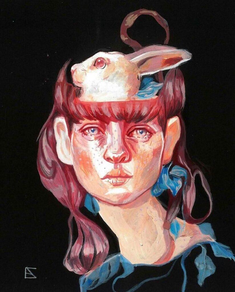 Alejandra Caballero surreal bunny painting
