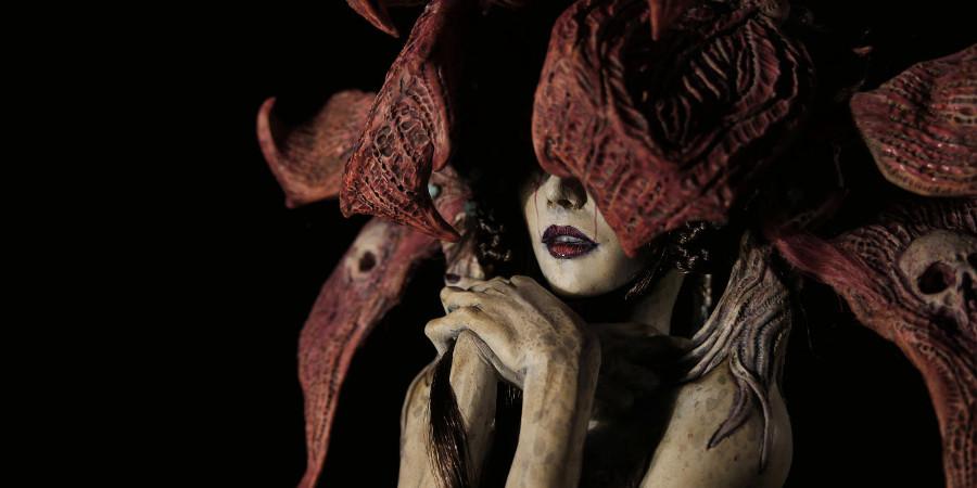 Virginie Ropars red woman sculpture